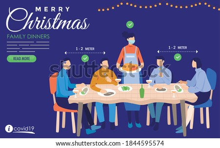 family dinner at christmas time with surgical mask covid19  Royalty-Free Stock Photo #1844595574