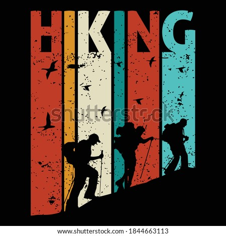 Hiking quotes and 100% vector best for t shirt and mug design, wild mountain illustration. Vector graphic for t shirt and other uses. Design element for logo, label, sign, poster, t shirt and Vector. Royalty-Free Stock Photo #1844663113