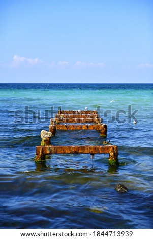 The rusty structure of the old pier sticks out of the seabed. Metal base of the former fishing pier, resting place for seagulls. Mediterranean coast. Selective focus. #1844713939