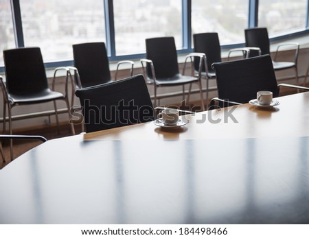 Meeting room with coffee cups before meeting #184498466
