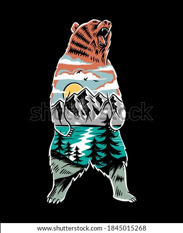 Vector illustration of a bear with a mountain landscape. For t-shirt prints, posters, and other uses. Royalty-Free Stock Photo #1845015268