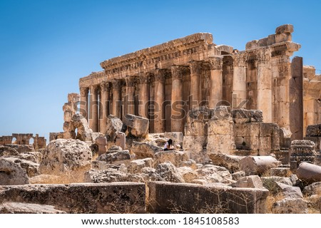 The ruins of the ancient city of Baalbek in Beirut - Lebanon Royalty-Free Stock Photo #1845108583