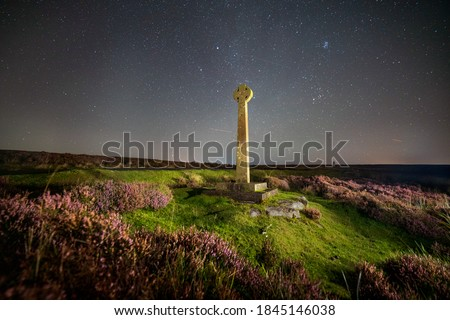 Milky way and cross at North York Moors, Rosedale, UK. Not a digital replaced sky. Royalty-Free Stock Photo #1845146038