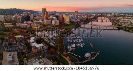 Sunset in Downtown Portland Oregon Royalty-Free Stock Photo #1845156976