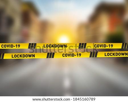 Covid-19 Lockdown concept. CORONAVIRUS LOCKDOWN. Covid-19 Pandemic world lockdown for quarantine. World many country and city under lockdown concept. Royalty-Free Stock Photo #1845160789
