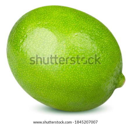 Isolated lime fruit. One whole lime fruit isolated on white background with clipping path Royalty-Free Stock Photo #1845207007