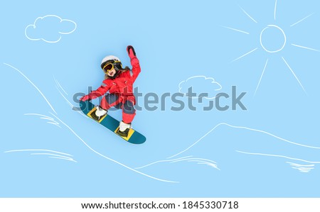 The little girl dreaming about winter season and snowboarding. Childhood and dream concept. Conceptual image with girl who conquers slopes on a snowboard. Dreams about sports. Royalty-Free Stock Photo #1845330718