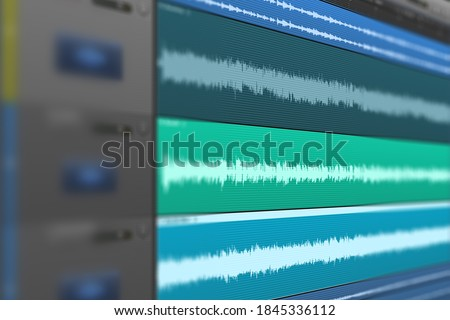 Image of multitrack sound audio wave on monitor. Recording, Mixing, and mastering in studio..