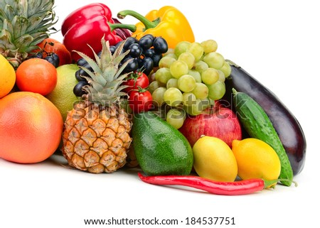 fruit and vegetable isolated on white background                                     #184537751