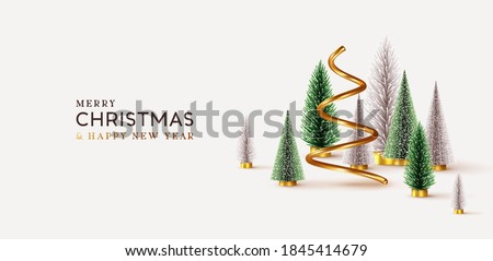 Abstract minimal christmas design, golden metallic cone spiral tree, realistic holiday green and white fir pine-tree. Xmas decorative 3D objects. Christmas and New Year background. vector illustration #1845414679