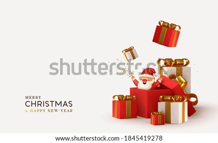 Merry christmas and Happy New Year. Realistic pile gifts boxes. Open gift box full with Santa Claus inside. Holiday banner, web poster, flyer, stylish brochure, greeting card, cover. Xmas background #1845419278