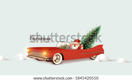 Merry christmas and Happy New Year. Santa Claus in red retro convertible car carries Christmas tree. Xmas 3d design, vintage banner, modern poster, holiday flyer, brochure. Winter vector illustration #1845420550