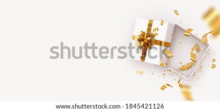 Empty Open gift box template. Xmas design Realistic decorative objects. Sale banner, surprise poster, flyer and brochure. mock up holiday. Celebrate birthday, anniversary, wedding. flat lay, top view #1845421126