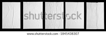white paper wrinkled poster template , blank glued creased paper sheet mockup.white poster mockup on wall. empty paper mockup. clipping path