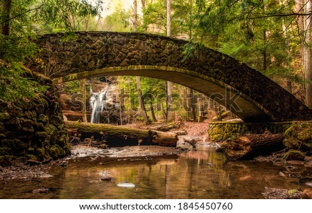 Forest river bridge. River bridge in forest park. Arched bridge in forest park. Bridge river #1845450760