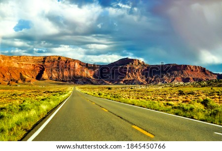 Red rock canyon valley road landscape. Mountain valley rod. Road in mountain valley. Mountain valley road landscape #1845450766