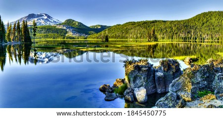 Forest river water reflection panorama. Panorama of mountain lake. Mountain lake water. Mountain lake view #1845450775