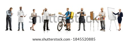 Group of people with different professions on white studio background, horizontal. Modern workers of diverse occupations, male and female models like accountant, cook, deliveryman, teacher, doctor. Royalty-Free Stock Photo #1845520885