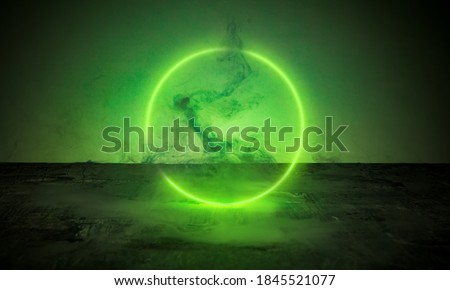Green. Neoned lines futuristic aesthetics. Glowing neon futuristic style on smoked dark background. Horizontal wallpaper, background. Stylish flyer for ad, offer, bright colors. Copyspace. Royalty-Free Stock Photo #1845521077