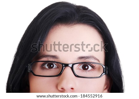 Female's face with eyeglasses. Cut out.  Isolated on white.  #184552916