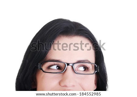 Female's face with eyeglasses. Cut out.  Isolated on white.  #184552985
