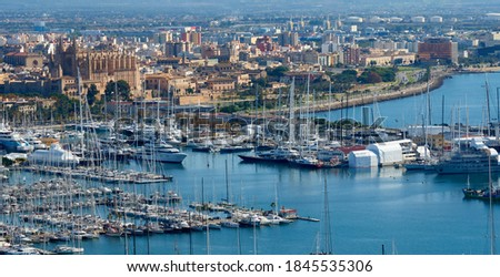 Panoramic view of the port of Palma de Mallorca with the cathedral