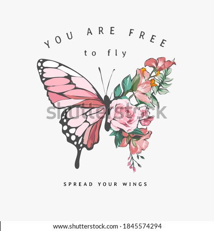 free to fly slogan with colorful flowers in butterfly half shape illustration #1845574294