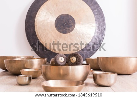 Traditional Tibetan meditation singing bowl for personal ritual Royalty-Free Stock Photo #1845619510