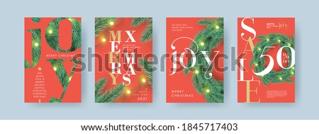 Merry Christmas and Happy New Year Set of backgrounds, greeting cards, Sale posters, holiday covers. Xmas modern 3d design with realistic fir tree branches, Christmas wreath and garlands lights #1845717403