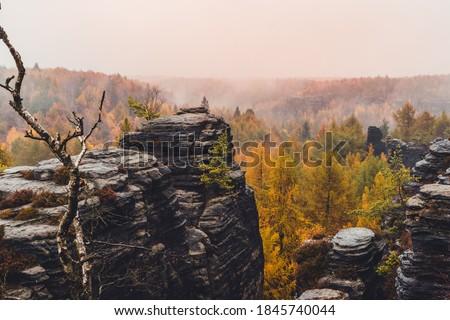 Sandstone Tisa rocks or Tisa walls in Bohemian Switzerland autumn fall dramatic view landscape in Czech-Saxon Switzerland, Czech Republic #1845740044