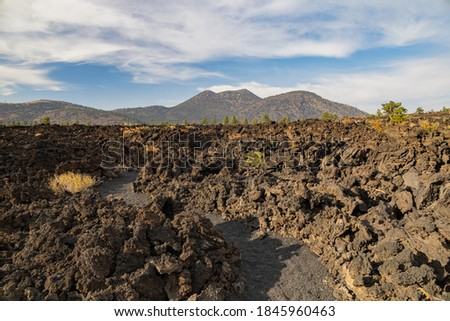 Special lava landscape of lava flow in Sunset Crater Volcano at Flagstaff, Arizona