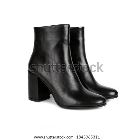 women's boots with heels isolated on white background. photo from side, diagonal and back angle Royalty-Free Stock Photo #1845965311