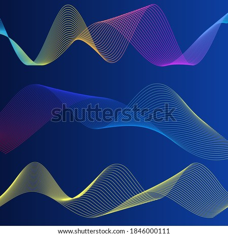 Wave many lines. Abstract wavy stripes on purple blue background. Creative line art colorful gradient. Vector illustration EPS 10. Design elements created using the Blend Tool for booklet layout, well Royalty-Free Stock Photo #1846000111