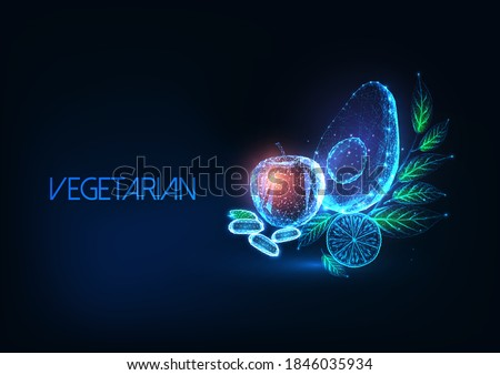 Futuristic vegetarian or vegan diet concept with glowing low polygonal avocado, apple, lemon, beans and greens on dark blue background. Modern wireframe mesh design vector illustration. Royalty-Free Stock Photo #1846035934