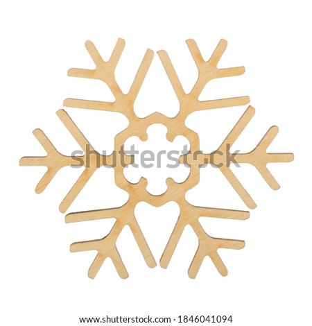 Wooden Snowflakes on white background, Christmas toy, stock photo, isolated