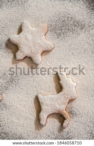Gingerbread cookie with flour on the table #1846058710