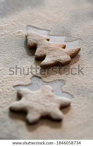 Gingerbread cookie with flour on the table #1846058734