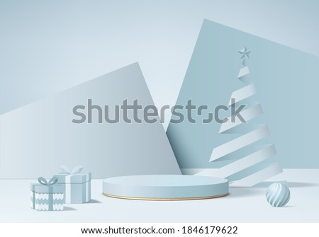 Christmas studio render 3d with gift card and podium platform. Christmas background studio 3d rendering geometric podium. stand for products background. christmas 3d studio on pedestal geometric glow #1846179622