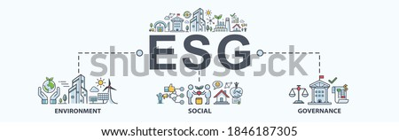 ESG banner web icon for business and organization, Environment, Social, Governance, corporate sustainability performance for investment screening. Royalty-Free Stock Photo #1846187305