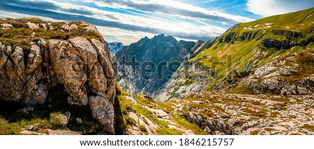 Mountain peak rocks landscape. Mountain panorama. Mountain range panoramic landscape. Mountain range panorama #1846215757