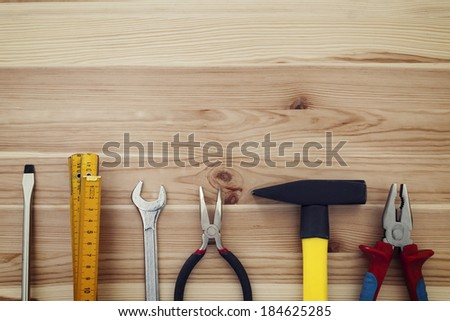 Copy space of work tools on wood #184625285