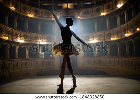 Silhouette of a young graceful classical ballet female dancer in white tutu is performing a choreography on classic theatre stage with dramatic lighting before start of a show. Royalty-Free Stock Photo #1846328650
