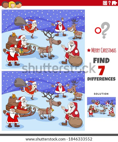 Cartoon illustration of finding differences between pictures educational game for children with Christmas characrters Royalty-Free Stock Photo #1846333552