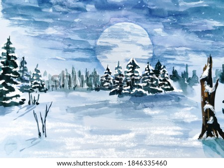 winter landscape, watercolor hand painted, Christmas time, nature