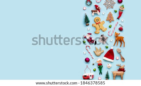 Collection of Christmas objects viewed from above #1846378585