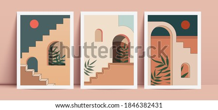 Abstract prints with elements of morrocan architecture. Wall decor in boho style. Royalty-Free Stock Photo #1846382431