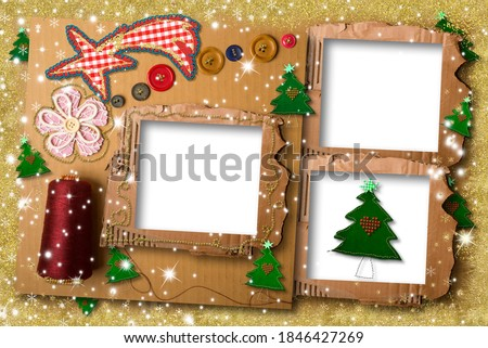 Christmas photo frame greeting card theme sewing. . Christmas greeting theme sewing, dressmaker, fashion, spool of thread , buttons and  3 cardboard photo frame.