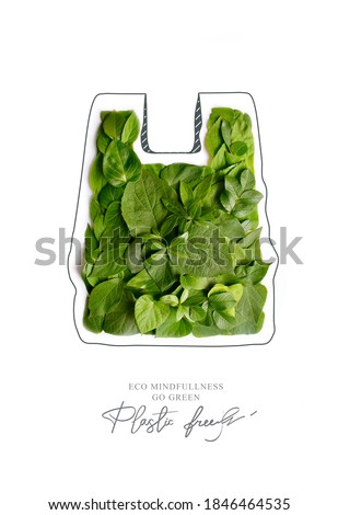 Plastic free.Ecological poster. Say NO to plastic and polyethylene bags. Ban plastic pollution. Biodegradable bag, made with green sprout and leaves. Zero waste and Sustainable lifestyle. Think Green. Royalty-Free Stock Photo #1846464535