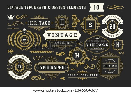 Vintage typographic decorative ornament design elements set vector illustration. Labels and badges, retro ribbons, luxury fancy logo symbols, elegant calligraphic swirls, flourishes ornate vignettes. Royalty-Free Stock Photo #1846504369