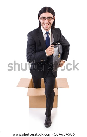 Man in thinking out of the box concept #184654505